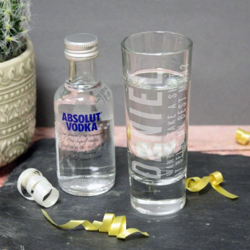 Personalised Absolute Vodka Shot Glass Set